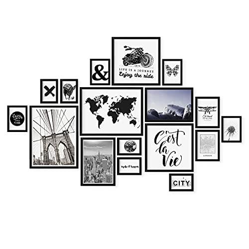 PHOTOLINI 17er Bilderrahmen-Set Modern Schwarz aus MDF 10x15 bis 30x40 cm | Bildergalerie | Bilderwand