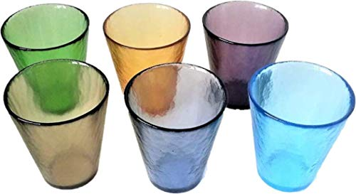Juego de 4 vasos de colores mixtos Murano Collection Yalos Happy Drink Fruit Agua ø 92 mm x 105 mm Bibita Cristal de Murano Made in Italy