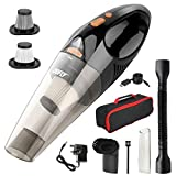 DOFLY Handheld Vacuum Cordless, 8500PA Super Suction Hand Vacuum Cleaner, Rechargeable Hand Vac with LED Light, Lightweight Wet Dry Vacuum for Home/Pet/Car Black&Golden