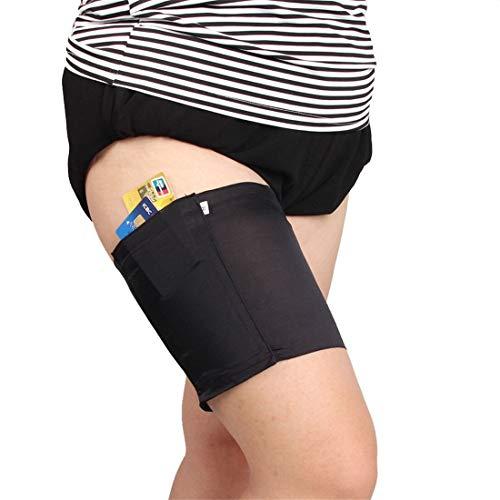 Fliegend Damen Oberschenkelbänder Mit Taschen Elastisch Silikon Bänder Sexy Oberschenkelbandage Anti-Chafing Anti-Rutsch Schenkel Band 55-60cm