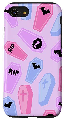 iPhone SE (2020) / 7 / 8 Pastel Goth Coffin Pattern Pink Blue Coral Lavender Kawaii Case