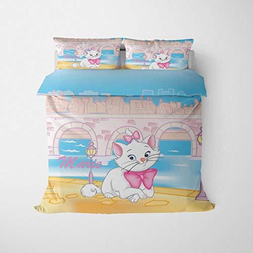 Hbvvaceo Bedding Set 3D Cartoon animal white cat Single Duvet/Quilt Cover Multicolor Bedroom Decorative Bed Set Zipper Closure Easy Care 135 x 200 cm Children's bedding set-baby bedding set