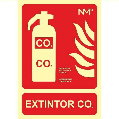 Señal extintor Co2 homologada PVC 21x30cm Rojo