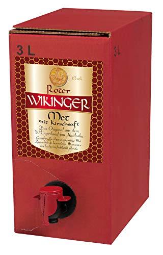 Roter Wikinger Met | 1x3L | Honigwein aus der Wikingerland Haithabu mit Kirschsaft | fruchtig aromatisch | Das Original