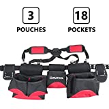 DURATOOL Heavy Duty Tool Belt with Suspenders, 3 Pouches, 18 Pockets for Tools and Steel Roller Buckle for Electrician Construction Carpenter Tool Belt Rig Pouch - Tool Belts for Men & Women