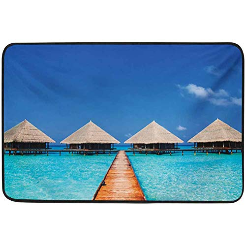YUAZHOQI Landscape Welcome Door Mat, Maldives Dock with Clear Waters Tropical Nature Polynesian Design, 23.6' x 35.4' doormats for Entrance Way Indoor Washable, Azure Turquoise Cream