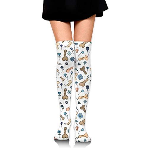 Hdadwy Frauen Mädchen Mode über Knie Oberschenkel Socken - Penis Blume