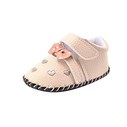 kingko® bébé nouveau-né Kid Chaussures Filles amour brodés bowknot Toddler Chaussures semelle souple (12~18 Mois, gris)