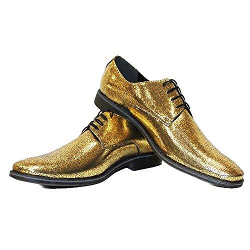 Modello Felerro - EU 44 - US 11 - UK 10-29 cm - Handgemachtes Italienisch Bunte Herrenschuhe Lederschuhe Herren Gold Oxfords Abendschuhe Schnürhalbschuhe - Rindsleder Lackleder - Schnüren