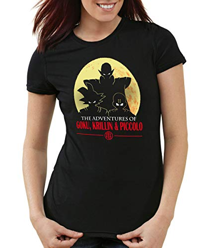 style3 The Adventures of Goku, Krillin and Piccolo T-Shirt Femme, Couleur:Noir, Taille:XS