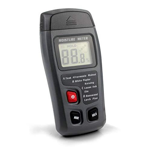 Digitaler Holzfeuchtigkeitsmesser 0-99,9{355c6f117e378755358199450c43ce2d2b38ab9eae31e19665e6ab496803b635} Handgerät Feuchtigkeitsmessung  Wasserleck-Detektor und Thermometer für Holz und Baumaterialien