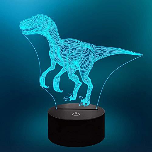 Lámpara LED de ilusión óptica 3D con diseño de dinosaurio, 16 cambio de color, ideal como regalo para niños y decoración de habitación