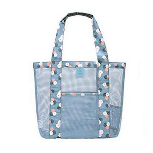 Demarkt Mesh Strand Tasche Beach Mesh Bag Schultertasche Damen 35 * 35 * 12CM Blau
