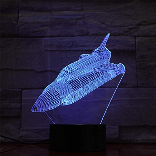 3D Illusionslampe LED Nachtlicht Space Shuttle Batteriebetriebene Farbwechsel-Fernbedienung mit personalisiert für Weihnachtsgeschenk