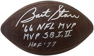 Bart Starr Autographed Signed Green Bay Packers Auth Wilson Duke Football 3 Insc JSA