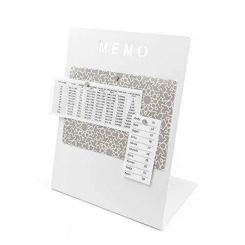 Magnettafel Memoboard mit Kreide beschreibbar - 180 x 120 x 235mm inkl. Magnete - Schreibtisch Magnetboard Magnetpinnwand Magnet Whiteboard Pinnwand zum beschriften, Farbe:weiß