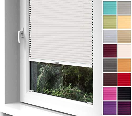 Home-Vision® Premium Plissee zum Anschrauben in der Glasleiste Innenrahmen (Creme, B65cm x H120cm) Blickdicht Plissee Jalousie mit Halterungen zum Bohren, Sonnenschutzrollo Rollo