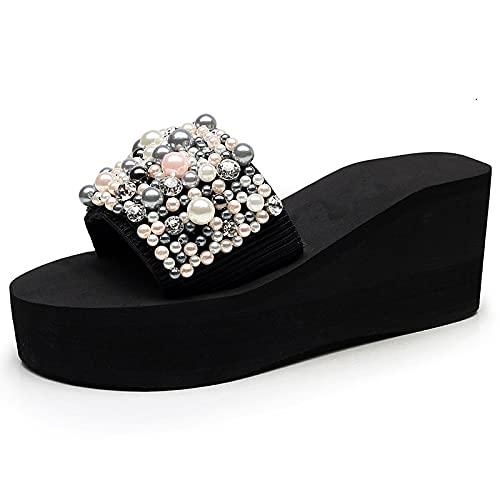 NUGKPRT chanclas,Zapatos de playa para mujer, sandalias de plataforma alta de verano, chanclas de cuña, zapatillas hechas a mano con pendiente, flor de cristal femenina, 8,5, altura de tacón, 7 cm