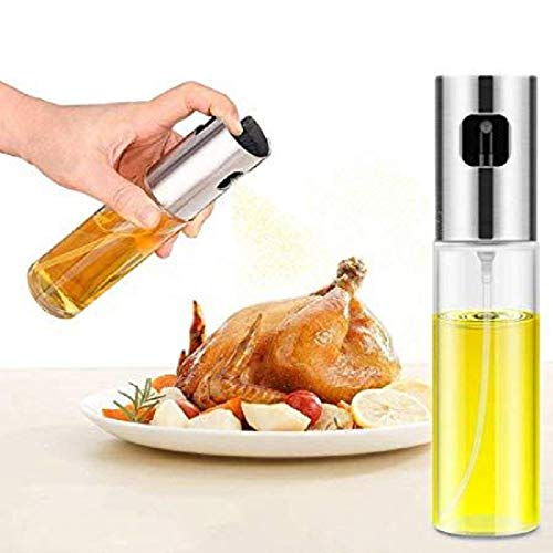 Olive Oil Sprayer for Cooking, Food-Grade Glass Bottle Dispenser For Cooking, BBQ, Salad, Kitchen Baking, Roasting, Frying (Silver,2Pcs)