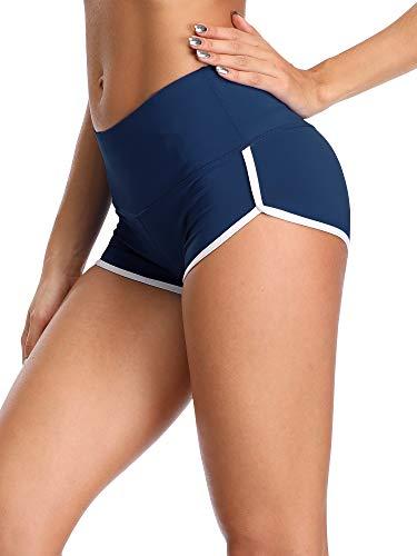 Cadmus Women's Workout Yoga Gym Shorts,1301,Navy Blue,Medium