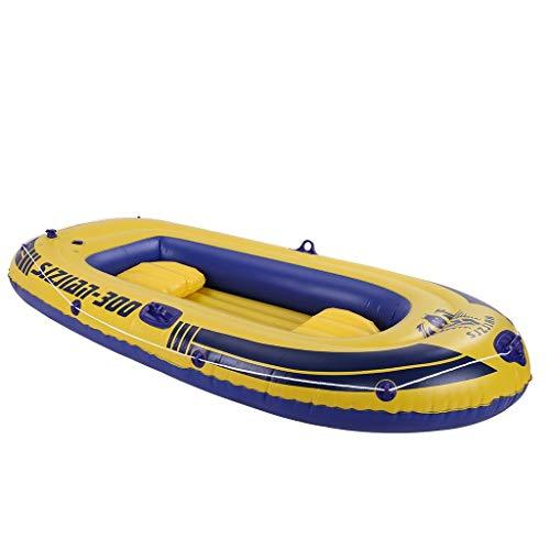 kashyk 3-4 Person Schlauchboot,Verdicktes Fischerboot Gummiboot PVC-Kajak mit Paddelboot,einfach zu Falten für bequemen Lagertransport Heavy Duty,Maximale Belastung: 700kg (3 Erwachsene) (Gelb)