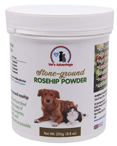 Vet's Advantage 100% Pure Stone-ground Rosehip Powder - For Optimal Joint and Hip Health & Nutritional Well-being for Dogs and Cats