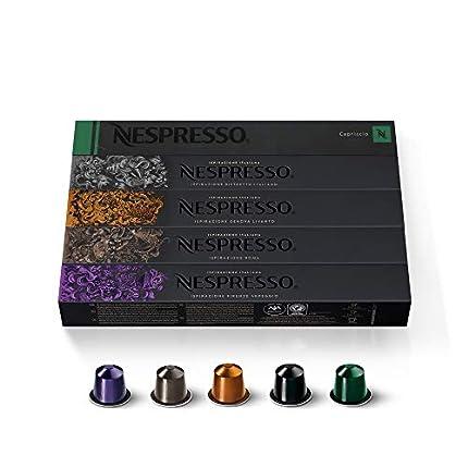 Nespresso - Original coffee capsules, 50 capsules - 10 x Roma, 10 x Ristretto, 10 Arpeggio, 10 Capriccio, 10 Livanto