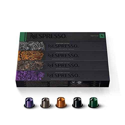 Nespresso Capsules OriginalLine, Ispirazione Variety Pack, Medium & Dark Roast Espresso Coffee, 50 Count Espresso Coffee Pods, Brews 1.35oz
