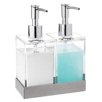 Modern Innovations Acrylic Twin Liquid Soap and Lotion Dispenser Set with Caddy - Double Soap Dispenser for Kitchen Sink - Clear Soap Dispenser for Bathroom Shampoo Conditioner Body Wash