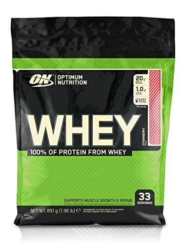 Optimum Nutrition Whey Protein Powder Low Sugar Protein Shake with Amino Acids for Muscle Growth, Strawberry, 33 Servings, 900 g