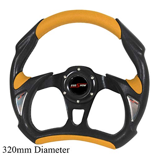 Rxmotor Universal Fit 320mm JDM Battle Racing Steering Wheel New - Acura Honda Toyota Mazda Mitsubishi etc (YELLOW)