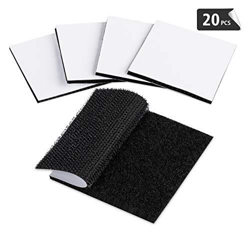 Cinta adhesiva de gancho y bucle de ilauke, 20 unidades reutilizables de doble cara, cinta adhesiva, color negro (6 x 6 cm)
