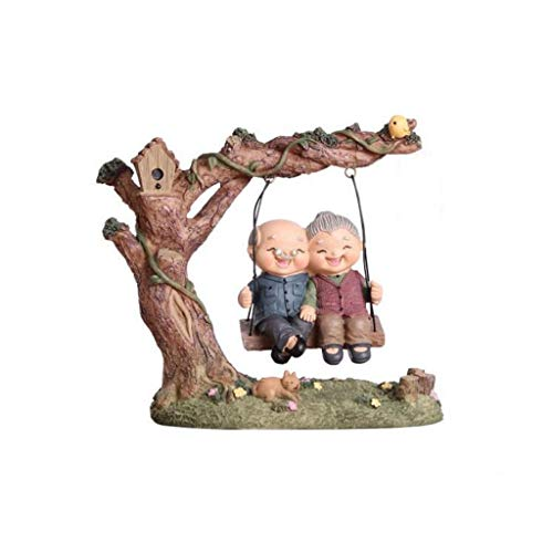 SCDZS Grandma Grandpa Figures Sweety Lovers Couple Ornament for Fairy Home Office Table Decoration