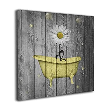 Ale-art Wall Pictures Daisy Flower Bubbles Yellow Gray Vintage Rustic Artwork Prints for Bathroom Living Room Bedroom Wall Decor Prints Art 20 x20