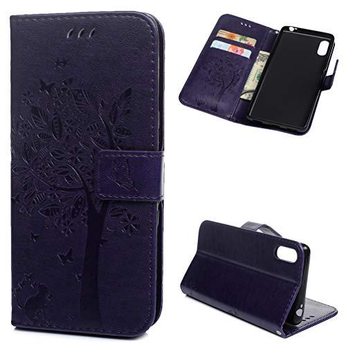 deinPhone - Funda de piel sintética con tapa para Sony Xperia L3, diseño de árbol, color morado, morado