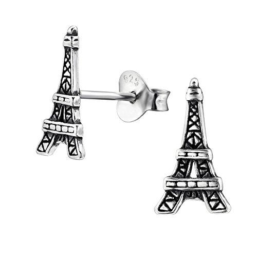 Laimons Pendientes para mujer Torre Eiffel Envejecido Plata de ley 925