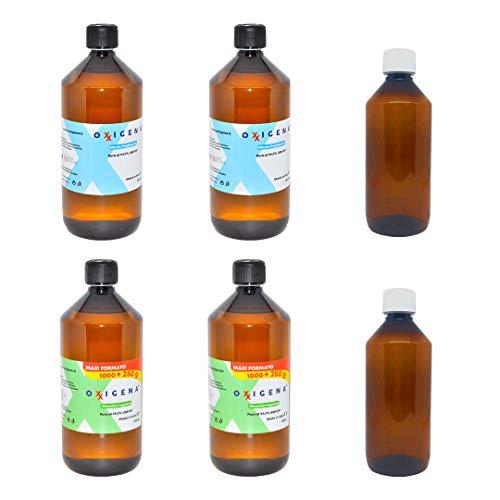 OXXIGENA SUPER KIT - 4 LITRI - BASE NEUTRA - 50VG 50PG - Glicerina Vegetale 2L (2000ml) + Glicole Propilenico 2L (2000ml) + 2 Flaconi Vuoti 500ml - 100% Made in Italy | Purezza Farmaceutica