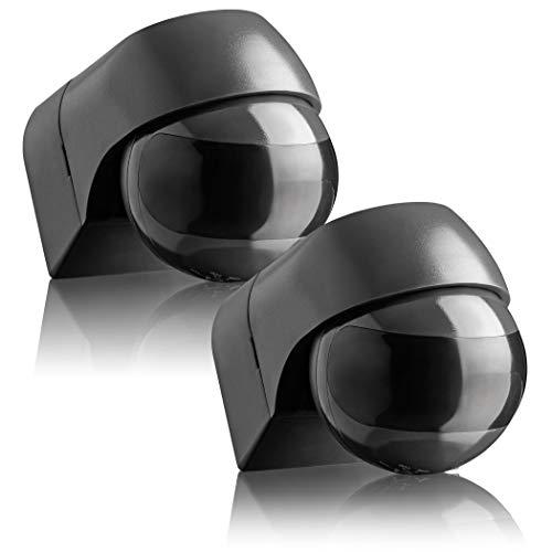 SEBSON® Detector de Movimiento Exterior IP44, Montaje Superficie en Pared, programable, Sensor de Infrarrojos, Alcance 12m / 180°, LED Adecuado, orientable