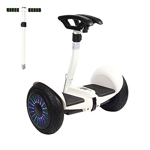 COCKE Selbstbalancierender Roller,Roller Für Kinder Und Erwachsene,App-Control-Fahrrad,Off-Road-Balancierbrett Mit Armlehnen,Eingebauter Bluetooth-Lautsprecher LED Farbiges Licht,Weiß,54v