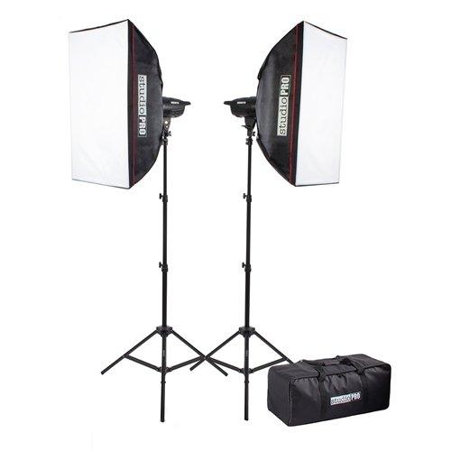 Fovitec StudioPRO 400 Watt Monolight Strobe Flash Photography Lighting Kit for Wedding, Food Blogging, Portrait, Product Photo - (2) 200W/s Flash Head with Light Stands & 20'x28' Softbox