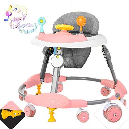 Olz Andador Plegable de Actividad para bebés con 8 Alturas Ajustables para niños de 6 a 18 Meses con Funciones de Control de fricción, Asiento Acolchado con Respaldo Alto