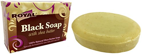 Black Soap with 100% Natural Shea Butter by Royal - Best Treatment For Stretch Marks, Wrinkles, and Dry Skin