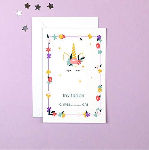 popcarte 16 Cartes d'invitation Anniversaire Fille avec 16 Enveloppes • Licorne Fleurie (Blanche)