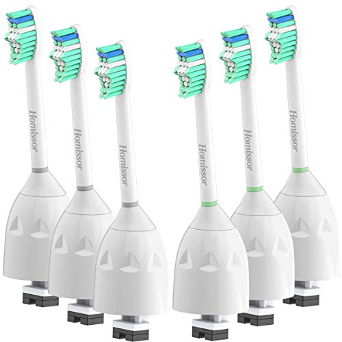 Homissor Replacement Brush Heads Compatible with Phillips Sonicare E-Series HX7022/66, 6 Pack, Fit Essence, Xtreme, Elite, Advance and CleanCare Screw-on Electric Sonic Toothbrush Handles