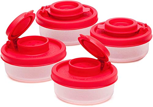 Salt and Pepper Shakers Moisture Proof Set of 4 Small Mini Salt Shaker to go Camping Picnic Outdoors Kitchen Lunch Boxes Travel Spice Set Clear with Red Covers Plastic Airtight Spice Jar Dispenser