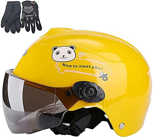 TYSJL Niños Motocicleta Half Casco, Verano Lindo Niños Ciclo de Motora Casco Guante Mueca Mueca Motos Bicicleta eléctrica Casco de Motocicleta para Niños Niños Niñas Edad 3 a 9, Azul