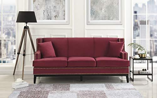 Divano Roma Furniture EXP48-VV-RED Modern Soft Velvet Sofa with Nailhead Trim Detail (Red)