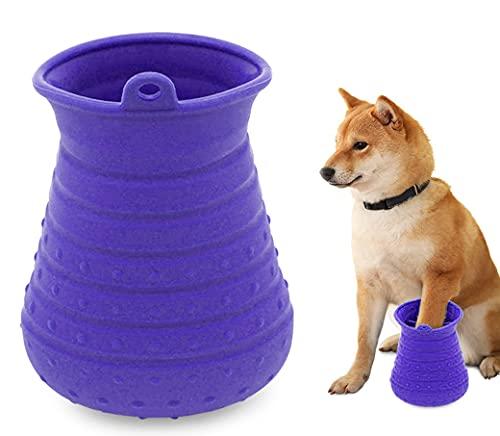 Idepet Limpiador de Huellas para Perros,Perros Lavadora Portatil,Cepillo De Limpieza para Mascotas con Toalla Pet Paw Cleaner para Perros Gatos Masaje Aseo Sucio Garras Púrpura