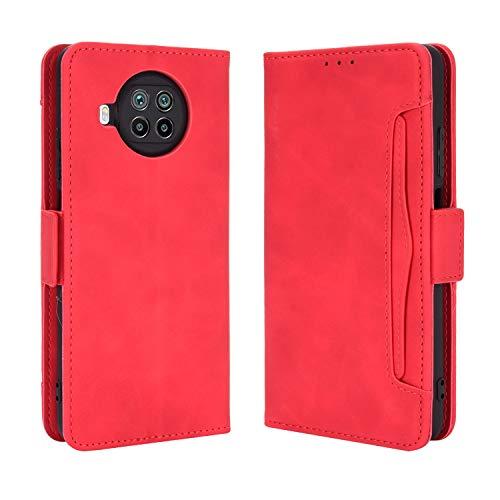 Funda para Xiaomi Mi 10T Lite 5G, Funda Protector con Cáscara de TPU, Soporte Plegable, Ranura para Tarjeta, Funda Tapa Libro Flip Phone Cover Case para Xiaomi Mi 10T Lite 5G, Rojo