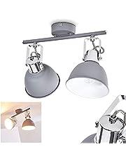 Plafondlamp Dompierre, metalen plafondlamp in grijs/wit, 2 vlammen, met verstelbare schijnwerpers, 2 x E14 stopcontact max. 25 Watt, spot in retro/vintage uitvoering, geschikt voor LED-lampen